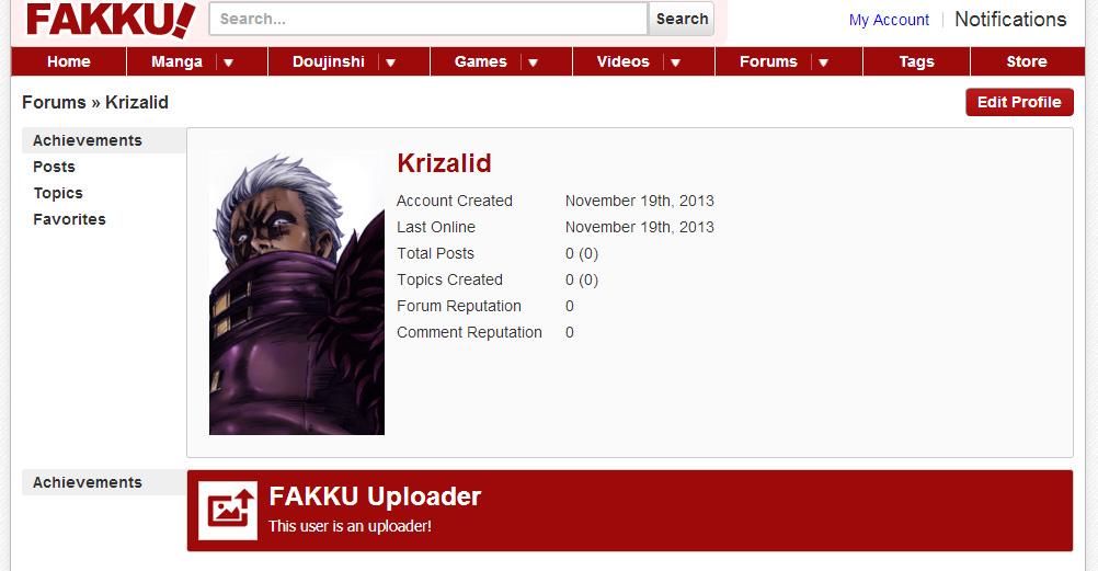 Krizalid's Profile on Fakku!